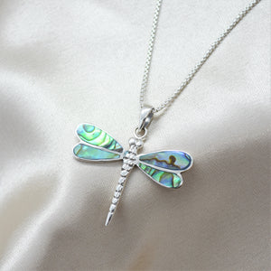 dragonfly abalone shell necklace