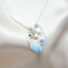 blue topaz abstract silver necklace