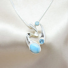 swiss blue topaz abstract necklace