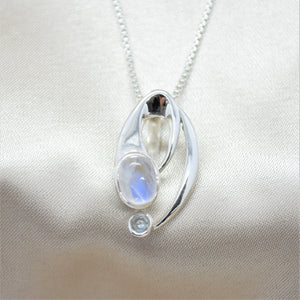 moonstone abstract pendant necklace