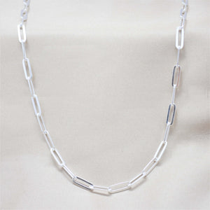4mm silver paperclip chain