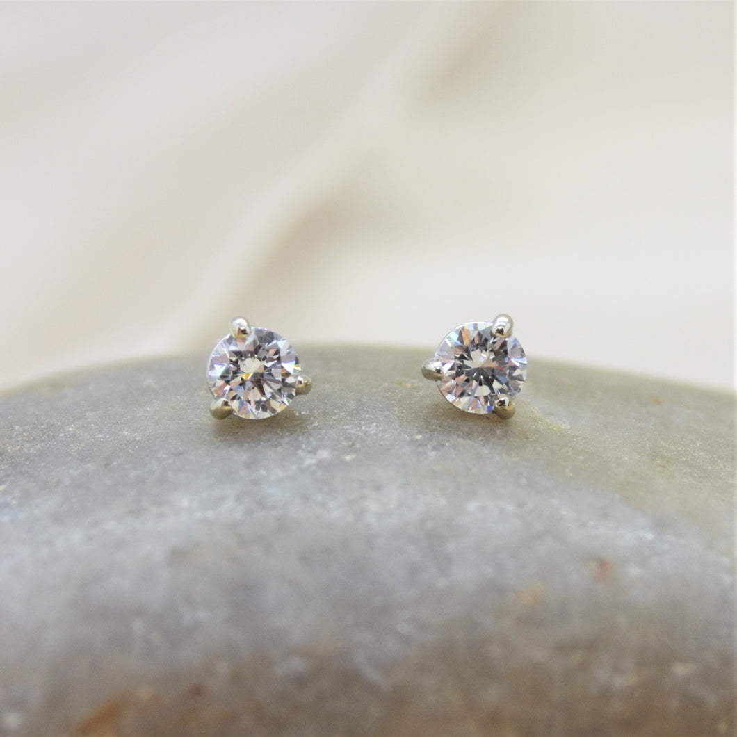 lab diamond earrings in white gold