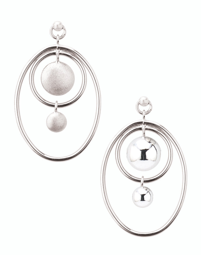 Duo-Faced Silver Earrings