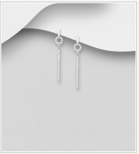 Dangle CZ Bar Earrings