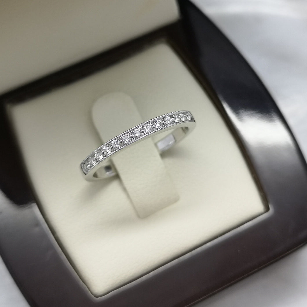White Gold Wedding Band with Diamonds and Milgrain