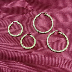 10K Yellow Gold Twist Bead Hoop Earrings