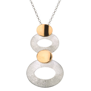 oval stack necklace two tone