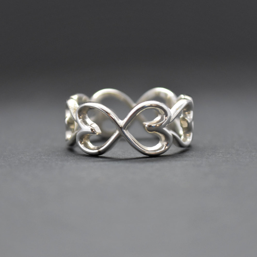 heart infinity silver ring