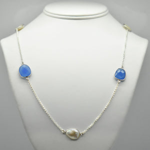 Blue Onyx and Pearl Station Necklace