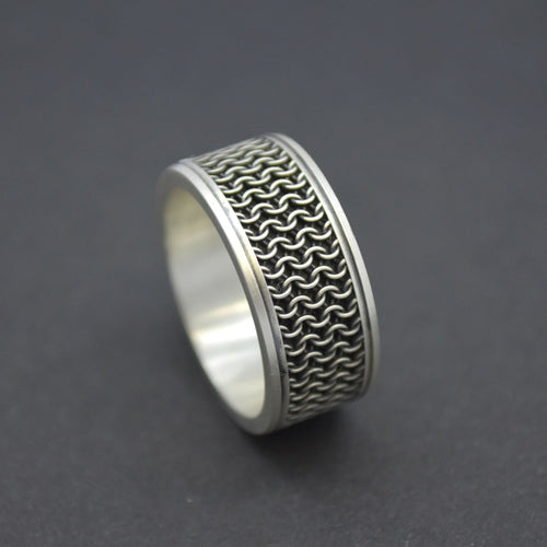 chain mail statement wedding ring men