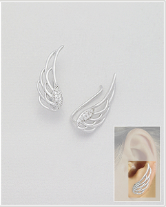 Silver Wings Ear Climbers