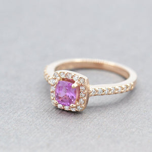 Rose Gold Pink Sapphire Engagement Ring (Custom Order)