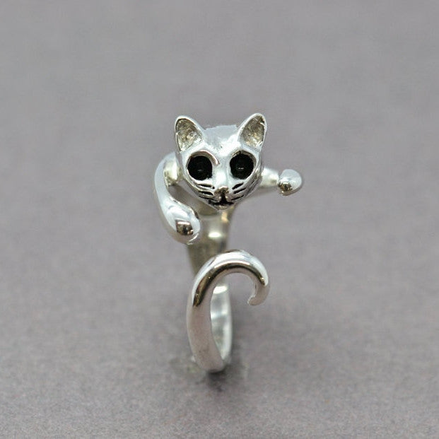 cat wrap silver ring