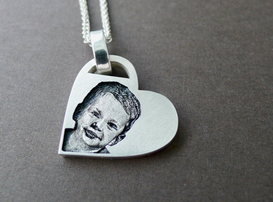 custom photo silver necklace