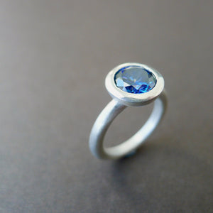 blue stone silver ring