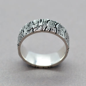bark texture wedding band