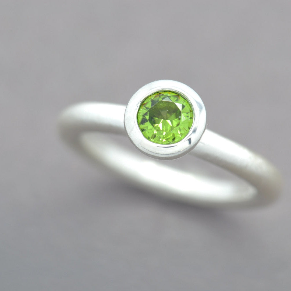 Simulated Peridot Lollipop Ring