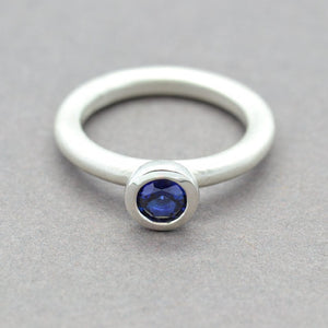 Simulated Sapphire Lollipop Ring