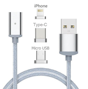 3 in 1 Magnetic Snap Charging Cable for iOS or Android