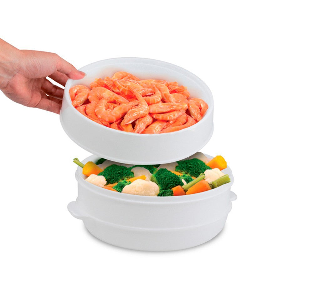 Microwave steamer 2-tier