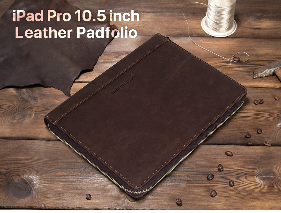 "Genuine Cowhide Leather Bag For 10.5"" Tablets (Apple, Samsung, Huawei, etc)"