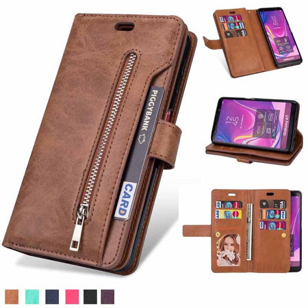 Retro Zipper Wallet Case for Samsung