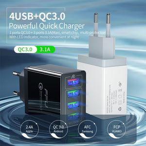 USB Fast Charger QC 3.0 (Charge up to 4 phones)