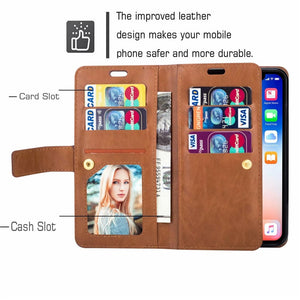 Retro Zipper Wallet Case for iPhone