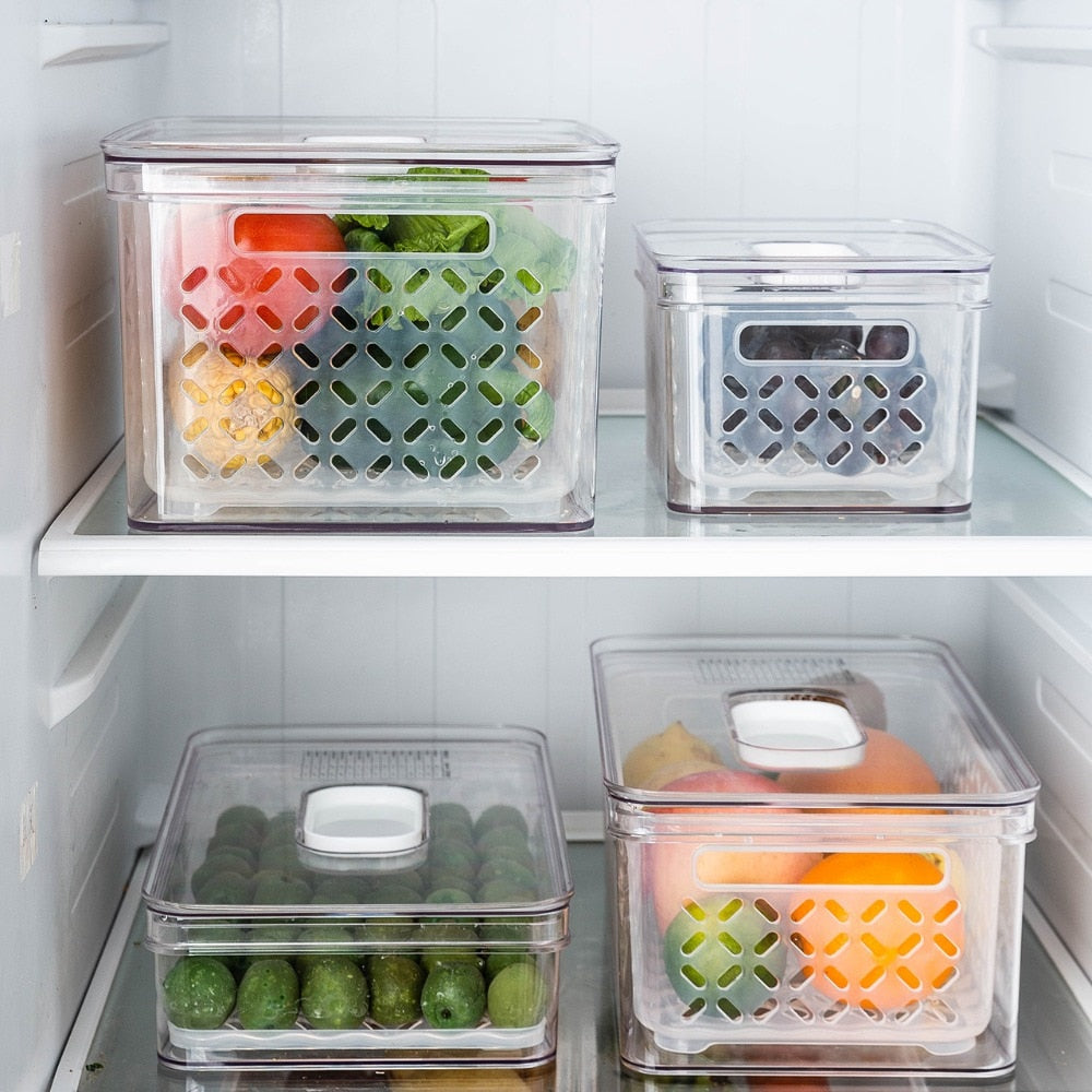 Refrigerator Food Container With Drainer and Lid