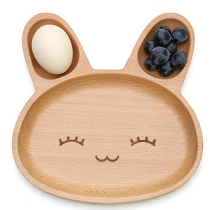 Cute Rabbit Wooden Appetizer Platter with 3 Compartment for children