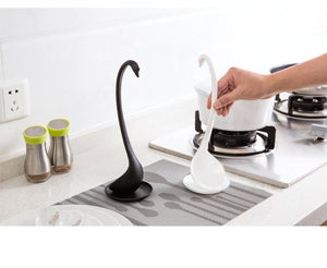 Creative Swan Soup Spoon With Tray / Long Handle & Stand Stable