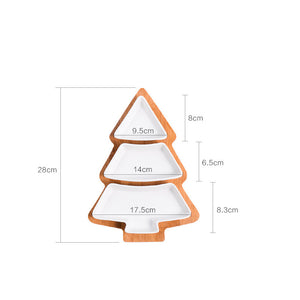 Ceramic Christmas Tree serving plate with wooden tray
