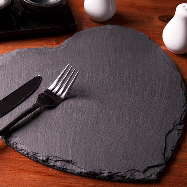 Popular Heart Shape Natural Slate Solid Decorative Plate