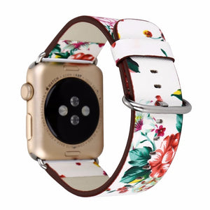Floral Women Leather Strap for Apple Watch