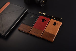 Genuine Stitched Leather Case for Galaxy A5 2018/ A7 2018/ A8 2018/ A8 Plus 2018