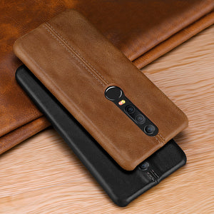 Genuine Vintage Stitched Leather Case for OnePlus 6