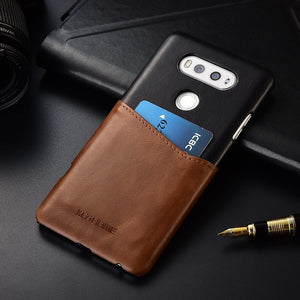 Two-tone Genuine Leather Case with Cardholder for LG V20