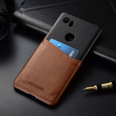 Two-tone Genuine Leather Case with Cardholder for Google Pixel 2 XL