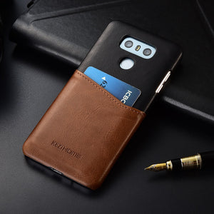 Two-tone Genuine Leather Case with Cardholder for LG G6