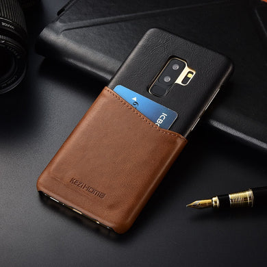 Two-tone Genuine Leather Case with Cardholder for Galaxy S9 or S9 Plus