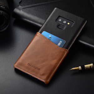 Two-tone Genuine Leather Case with Cardholder for Galaxy Note9