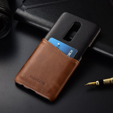 Two-tone Genuine Leather Case with Cardholder for Oneplus 6
