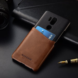 Two-tone Genuine Leather Case with Cardholder for LG G7