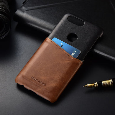 Two-tone Genuine Leather Case with Carholder for Oneplus 5T