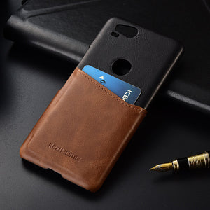Two-tone Genuine Leather Case with Cardholder for Google Pixel 2