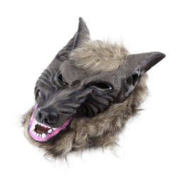 hot sale latex animal wolf head mask with hair halloween party fancy scary dress costume