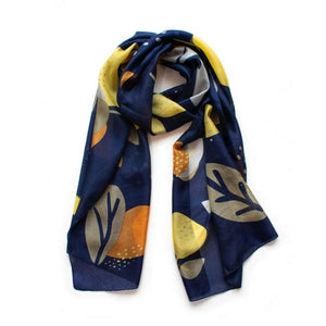 Abstract Floral scarf, colours are indigo and caramel. Made from silk.