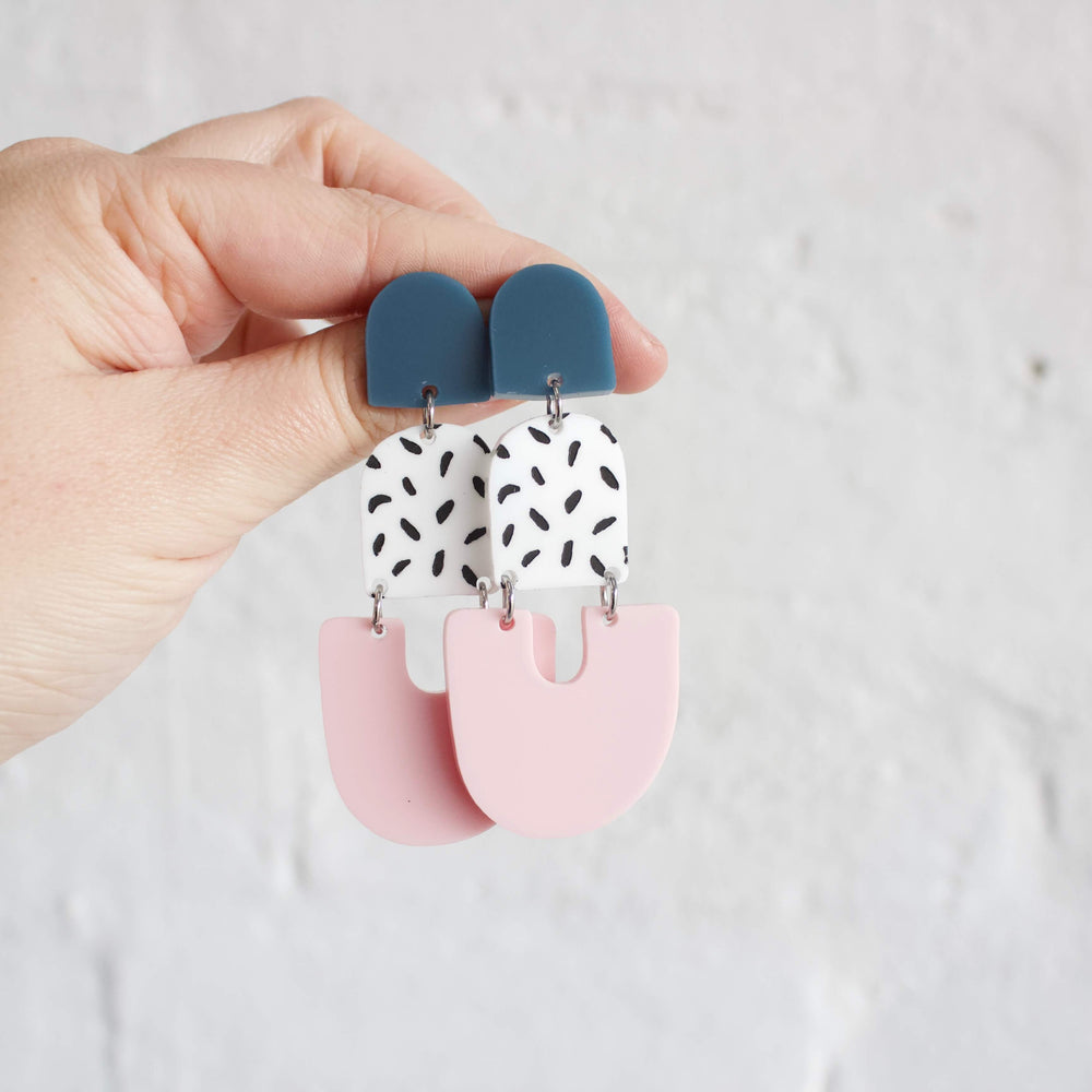 Alisha Earrings Storm Blue +Pink