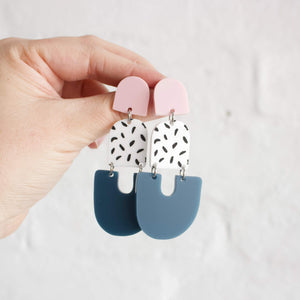 Alisha Earrings Pink + Storm Blue