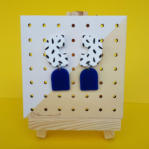 Allison statement earrings with two drops, white and black spots and galaxy blue.